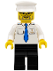 Minifig No: boat009  Name: Boat Captain with Blue Tie and Anchor on Pocket, White Hat
