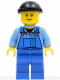 Minifig No: boat010  Name: Overalls with Tools in Pocket Blue, Black Knit Cap