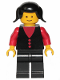 Minifig No: but001  Name: Shirt with 3 Buttons - Red, Red Arms, Black Legs, Black Pigtails Hair (Firewoman)