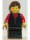 Minifig No: but002  Name: Shirt with 3 Buttons - Red, Red Arms, Black Legs, Brown Male Hair