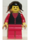 Minifig No: but004  Name: Shirt with 3 Buttons - Red, Red Arms, Red Legs, Black Pigtails Hair