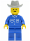 Minifig No: but006  Name: Shirt with 6 Buttons - Blue, Blue Legs, Light Gray Cowboy Hat