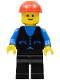 Minifig No: but010  Name: Shirt with 3 Buttons - Blue, Black Legs, Red Construction Helmet
