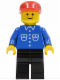 Minifig No: but012  Name: Shirt with 6 Buttons - Blue, Black Legs, Red Cap