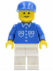 Minifig No: but014  Name: Shirt with 6 Buttons - Blue, White Legs, Blue Cap
