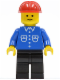 Minifig No: but015  Name: Shirt with 6 Buttons - Blue, Black Legs, Red Construction Helmet