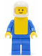 Minifig No: but018  Name: Shirt with 6 Buttons - Blue, Blue Legs, White Classic Helmet, Yellow Vest