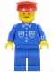 Minifig No: but020  Name: Shirt with 6 Buttons - Blue, Blue Legs, Red Hat