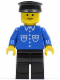 Minifig No: but021  Name: Shirt with 6 Buttons - Blue, Black Legs, Black Hat