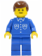 Minifig No: but022  Name: Shirt with 6 Buttons - Blue, Blue Legs, Brown Male Hair