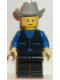 Minifig No: but023  Name: Shirt with 3 Buttons - Blue, Black Legs, Light Gray Cowboy Hat