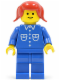Minifig No: but024  Name: Shirt with 6 Buttons - Blue, Blue Legs, Red Pigtails Hair