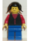 Minifig No: but026  Name: Shirt with 3 Buttons - Red, Red Arms, Blue Legs, Black Pigtails Hair