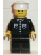 Minifig No: but027  Name: Shirt with 6 Buttons - Black, Black Legs, White Hat