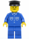 Minifig No: but028  Name: Shirt with 6 Buttons - Blue, Blue Legs, Black Hat