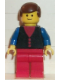Minifig No: but030  Name: Shirt with 3 Buttons - Red, Blue Arms, Red Legs, Brown Male Hair