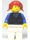 Minifig No: but034  Name: Shirt with 3 Buttons - Blue, White Legs, Red Pigtails Hair