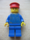 Minifig No: but034s  Name: Shirt with 5 Buttons (Sticker) - Blue - Blue Legs, Red Hat