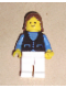 Minifig No: but035  Name: Shirt with 3 Buttons - Blue, White Legs, Brown Female Hair