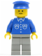 Minifig No: but037  Name: Shirt with 6 Buttons - Blue, Light Gray Legs, Blue Hat