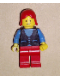 Minifig No: but038  Name: Shirt with 3 Buttons - Blue, Red Legs, Red Female Hair