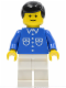 Minifig No: but039  Name: Shirt with 6 Buttons - Blue, White Legs, Black Male Hair