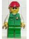 Minifig No: car002  Name: Cargo - Green Shirt, Green Legs, Red Construction Helmet