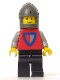 Minifig No: cas002  Name: Classic - Knight, Shield Red/Gray, Black Legs, Dark Gray Chin-Guard