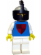Minifig No: cas003  Name: Classic - Knight, Shield Red/Blue, Light Gray Helmet and Black Visor