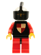 Minifig No: cas007  Name: Classic - Knights Tournament Knight Black, Red Legs with Black Hips, Light Gray Helmet, Black Visor