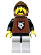 Minifig No: cas072t  Name: Wolf People - Wolfpack 1 with Black Arms, Brown Hood