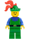 Minifig No: cas133  Name: Forestman - Blue, Green Hat, Red 3-Feather Plume
