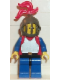 Minifig No: cas189  Name: Breastplate - Red with Blue Arms, Blue Legs with Black Hips, Dark Gray Grille Helmet, Red Plume