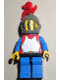Minifig No: cas189a  Name: Breastplate - Red with Blue Arms, Blue Legs with Black Hips, Dark Gray Grille Helmet, Red Plume, Blue Plastic Cape
