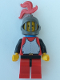 Minifig No: cas193  Name: Breastplate - Red with Black Arms, Red Legs with Black Hips, Dark Gray Grille Helmet, Red Plume, Blue Plastic Cape