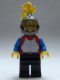 Minifig No: cas195  Name: Breastplate - Red with Blue Arms, Black Legs, Dark Gray Grille Helmet, Yellow Plume, Blue Plastic Cape