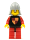 Minifig No: cas229new  Name: Classic - Knights Tournament Knight Black, Red Legs with Black Hips, Light Bluish Gray Neck-Protector (Reissue)