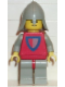Minifig No: cas233  Name: Classic - Knight, Shield Red/Gray, Light Gray Legs with Red Hips, Light Gray Neck-Protector