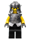 Minifig No: cas313  Name: Knights Kingdom II - Rogue Knight 6 (Black Legs, Speckle Breastplate, Speckle Cheek Protector Helmet)