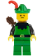 Minifig No: cas321  Name: Forestman - Black, Green Hat, Red Feather, Quiver