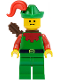 Minifig No: cas323  Name: Forestman - Red, Green Hat, Red Plume, Quiver