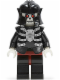 Minifig No: cas330  Name: Fantasy Era - Skeleton Warrior 4, White, Black Breastplate and Helmet, Dark Red Hips and Black Legs