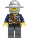 Minifig No: cas336  Name: Fantasy Era - Crown Knight Scale Mail with Chest Strap, Helmet with Broad Brim, Smirk and Stubble Beard