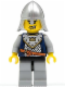 Minifig No: cas338  Name: Fantasy Era - Crown Knight Scale Mail with Crown, Helmet with Neck Protector, Scar Across Lip