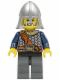 Minifig No: cas348  Name: Fantasy Era - Crown Knight Scale Mail with Chest Strap, Helmet with Neck Protector, White Moustache and Beard