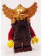 Minifig No: cas356  Name: Fantasy Era - Dwarf, Dark Brown Beard, Metallic Gold Helmet with Wings, Dark Red Arms, Smirk and Stubble Beard
