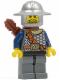 Minifig No: cas361  Name: Fantasy Era - Crown Knight Scale Mail with Chest Strap, Helmet with Broad Brim, 3 Spots under Left Eye, Quiver
