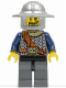 Minifig No: cas370  Name: Fantasy Era - Crown Knight Scale Mail with Chest Strap, Helmet with Broad Brim, Curly Eyebrows and Goatee