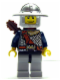 Minifig No: cas374  Name: Fantasy Era - Crown Knight Scale Mail with Chest Strap, Helmet with Broad Brim, Dual Sided Head, Light Bluish Gray Legs, Quiver