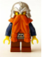 Minifig No: cas377  Name: Fantasy Era - Dwarf, Dark Orange Beard, Metallic Silver Helmet with Studded Bands, Dark Blue Arms, Pale Brown Beard